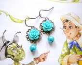 Flower Girl Earrings Turquoise Pearl Earrings Dangle Children Earrings Turquoise Wedding Jewelry Baby Girl Pearl Earring Rose Flower Earring