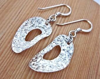 Sterling Oval Earrings -- Italian Silver Earrings -- Foil Earrings -- Textured Silver Hoop Earrings -- Silver Oval Hoops -- Hoop Dangles