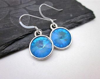 Blue Swarovski Crystal Drop Earrings -- Round Blue Drop Dangles -- Light Blue Crystal Dangles -- Silver & Pastel Blue Earrings -- Ultra Blue