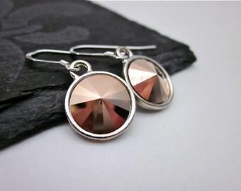 Rose Gold Drops -- Rose Gold Drop Earrings -- Silver & Rose Gold Earrings -- Rose Gold Crystal Dangles -- Round Rose Gold Earrings --Rivolis