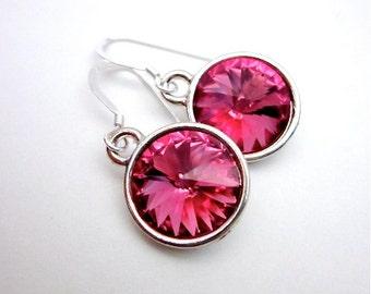 Pink Crystal Dangle Earrings -- Rose Pink Drop Earrings -- Rose Pink Swarovski Earrings -- Round Pink Dangles --Silver & Round Pink Earrings