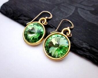 Peridot Green Crystal Earrings -- Green & Gold Drop Earrings -- Peridot Swarovski Crystal Earrings -- Light Green Dangle Earrings
