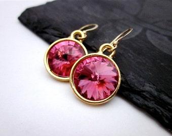 Gold & Pink Earrings -- Pink Crystal Earrings -- Rose Pink Swarovski Crystal Earrings -- Pink Dangle Earrings -- Pink Dangles