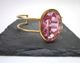 Gold & Pink Cuff Bracelet -- Pink Crystal Cuff -- Rose Pink Swarovski Bracelet -- Pink Bling Bracelet -- Pink Bracelet -- Pink Cuff