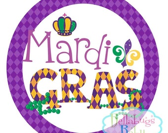Mardi Gras Personalized IRON ON TRANSFER- Fleur de Lis - Mardi Gras