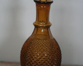 vintage amber glass decanter