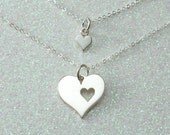 Mother and Daughter Jewelry, Mother's Heart Necklace, Sterling Silver Heart Charms, Gift Set