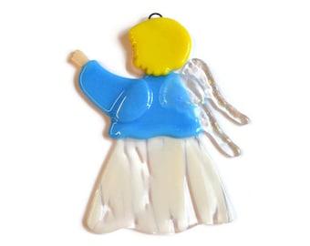 Angel Ornament, Fused Glass, Suncatcher, Christmas Ornament, Sky Blue, Baby Shower Gift