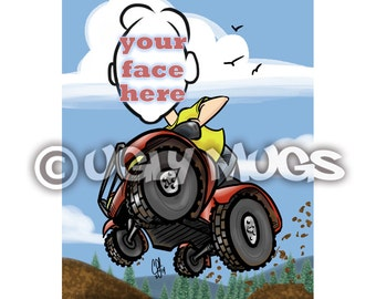Custom 4-Wheeler Guy Outdoor Adventure Caricature from Photos