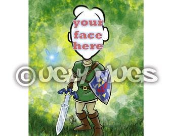 Custom Legend of Zelda LINK Caricature from Photos