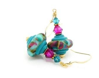 Turquoise Blue & Fuchsia Earrings, Old World Earrings, Baroque Earrings, Lampwork Earrings, Glass Earrings, Beadwork Earrings