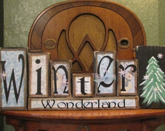 Shabby Chic Christmas and Winter Sign Word Blocks - Winter Wonderland