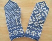 Blue and white floral vine Nordic style wool mittens Adult M/L