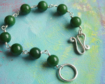 Jade Mala bead bracelet, Sterling Silver clasp, meditation, AAA nephrite jade, forest green,  handmade, lucky jade, Lemurian Diamond, Bibi