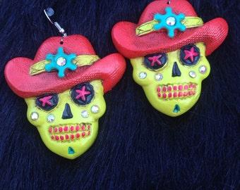 Cowboy sugar skull earrings