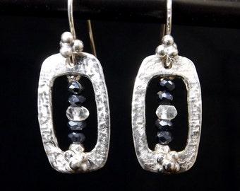 Fine Silver Gemstone Rectangular Earrings