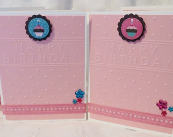 Pretty in Pink with Cupcakes Handmade Birthday Cards Set of Four, Clearance