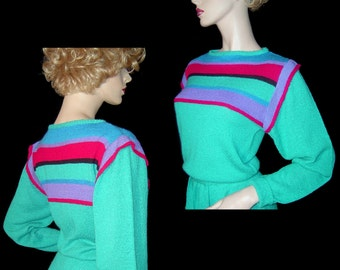 Bright green striped silk knit sweater midi dress Small Medium ~ 1970s 1980s ~ woven ~ stretchy ~ long sleeve ~blouson top ~ primary colours
