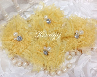Elena LACE: 4 pieces YELLOW  Small Lace Mesh Flowers With rhinestone Pearl Center Poof Flowers Hair accessories