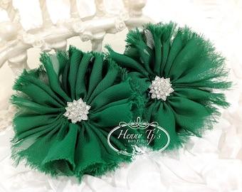 "2 pieces 3"" Adeila EMERALD GREEN Shabby Frayed  Chiffon Ruffle Flowers with Rhinestone,applique , hair accessories"