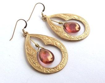 Bohemian Gold Hoop Earrings, Orange Earrings, Gold Dangle Earrings, Moorish Arabian Keyhole Drop Earrings-The Scheherezade Earrings
