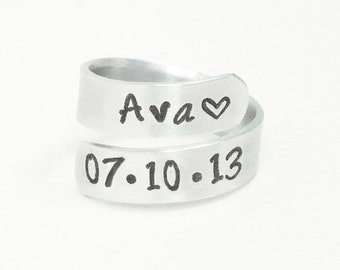 Personalized child name birth date ring - Name birthday ring - Mommy ring - Daddy ring - Birth date and name ring