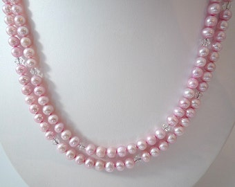 Long Pearl Necklace Pink Freshwater Pearl Necklace Light Pink Long Freshwater Pearl Necklace Pearl Crystal Necklace Beaded Long Pearl Strand
