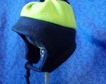 Winter Fleece Baby Hat Navy Blue and Lime Green 12-18 months