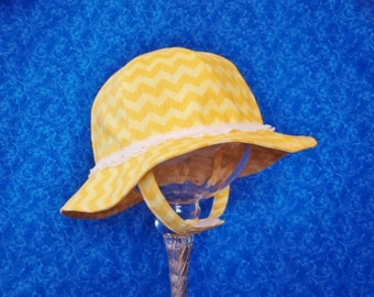 Yellow Chevron Baby Sunhat with Lace and Chin Straps