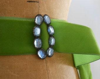 Vintage blue rhinestone belt buckle