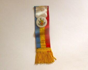 Vintage Fraternal Order of Knights of Pythias Ribbon & Button - Kansas City Kansas