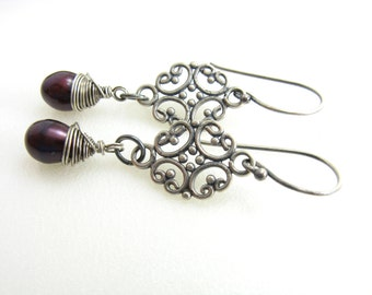 Sterling Silver Pearl Earrings Filigree Earrings With Cranberry Pearl Drops Handmade Sterling Silver Jewelry