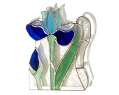 Iris Stained Glass Panel Blue Suncatcher Stained Glass Window Panel Handmade OOAK