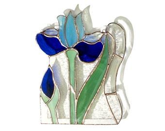 Iris Stained Glass Panel Blue Suncatcher Stained Glass Window Panel Handmade OOAK