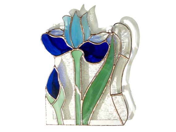 RESERVED for S - Iris Stained Glass Panel Blue Suncatcher Stained Glass Window Panel Handmade OOAK