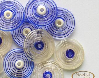 Lampwork Glass Disc Beads, FREE SHIPPING, Handmade Blue and White Glass Spiral Beads - Rachelcartglass