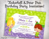 Tinkerbell & Peter Pan Birthday Party INVITATION Design- digital file