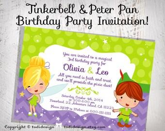 Tinkerbell & Peter Pan Birthday Party INVITATION Design- digital file
