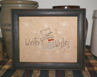 UNFRAMED Primitive Christmas Stitchery Snowman Winter Wishes Picture Country Home Decor Holiday Decoration Rustic Folk Art Snow wvluckygirl
