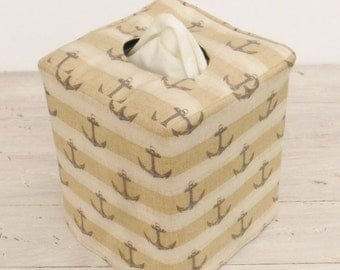 Navy Anchors on beige/ivory fabric reversible tissue box cover