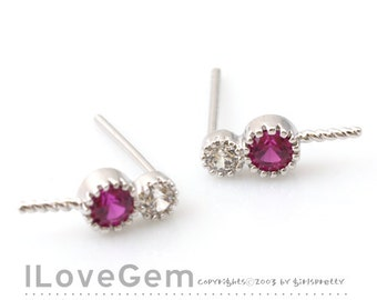 NP-1605 Rhodium Plated, 2-CZ, Ruby, Earrings with a peg, 925 sterling silver post, 2pcs