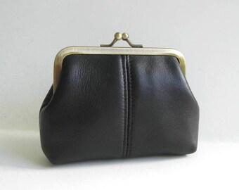 Medium Coin Purse in Genuine Black Leather