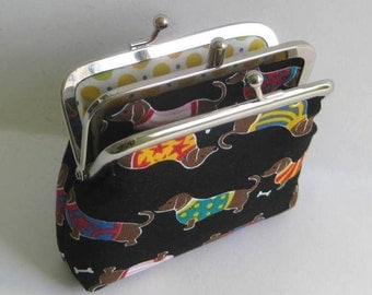 2 Compartment Coin Purse in Black with Dachshunds Wiener Dogs