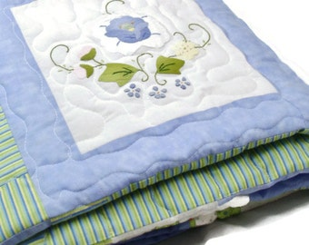 Twin Quilt with Blue Flowers on White with Repurposed Embroidered flowers