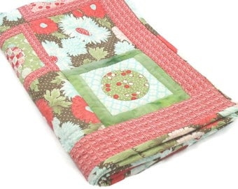 Asian Look Baby/Toddler/Stroller Quilt with Big Mums in Red and Greenand Brown/ Nap Mat/ Crib Quilt/Toddler Quilt