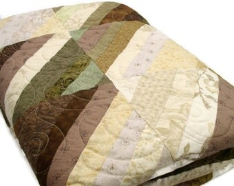 Full/Queen Bed Quilt - Comforter Made of Strips of Brown, Ecru, Green, and Gold/ Primitive Style/ String Quilt/Traditional