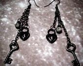 Dangle Key & Lock Earrings
