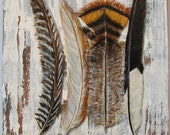 Feathers Walk in the Woods original acrylc painting on re-purposed wood