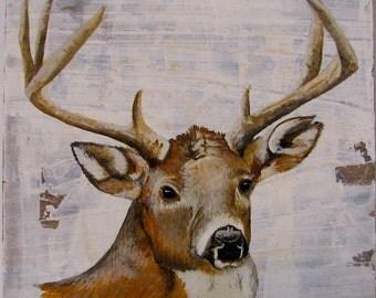 Deer, Walk in the Woods original acrylc painting on re-purposed wood