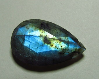 So Gorgeous Nice Quality - Faceted Pear Shape Briolett Focal - LABRADORITE - Drilled Amazing Strong Flashy Fire Huge Size 15x25 mm DRILLED
